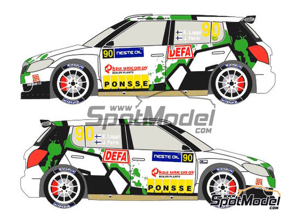 Image 3: Skoda Fabia S2000 Evo Ponsse - 1000 Lakes Finland Rally 2013 | Decals in 1/24 scale manufactured by Racing Decals 43 (ref. RD24-012)