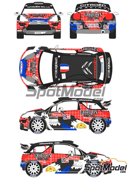 Citroen DS3 WRC Gordon - Rally Condroz de Bélgica 2013 | Calcas de agua en escala 1/24 fabricado por Racing Decals 43 (ref. RD24-013) image