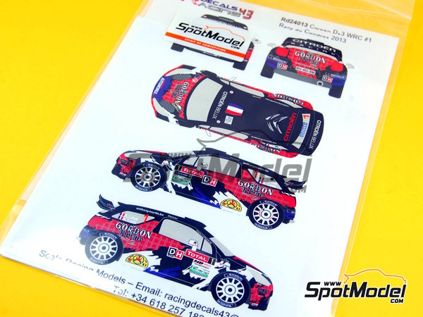 Image 1: Citroen DS3 WRC Gordon - Rally Condroz de Bélgica 2013 | Calcas de agua en escala 1/24 fabricado por Racing Decals 43 (ref. RD24-013)