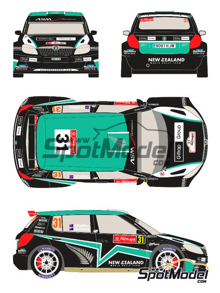 Skoda Fabia S2000 New Zealand - Rally de Portugal 2012 | Calcas de agua en escala 1/24 fabricado por Racing Decals 43 (ref. RD24-017) image