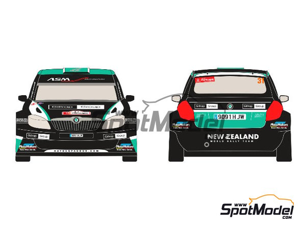 Image 1: Skoda Fabia S2000 New Zealand - Rally de Portugal 2012 | Calcas de agua en escala 1/24 fabricado por Racing Decals 43 (ref. RD24-017)