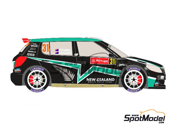 Image 3: Skoda Fabia S2000 New Zealand - Rally de Portugal 2012 | Calcas de agua en escala 1/24 fabricado por Racing Decals 43 (ref. RD24-017)