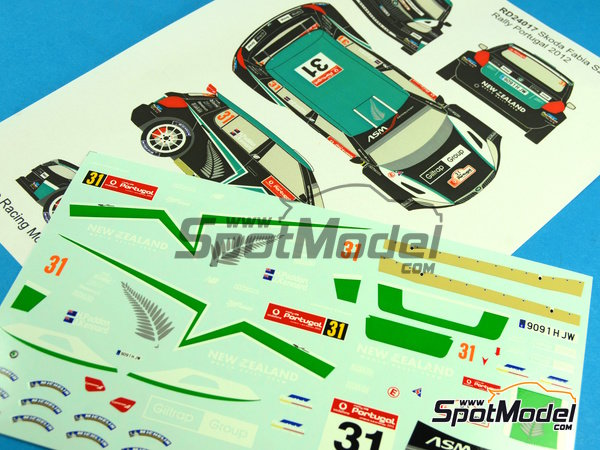 Image 4: Skoda Fabia S2000 New Zealand - Rally de Portugal 2012 | Calcas de agua en escala 1/24 fabricado por Racing Decals 43 (ref. RD24-017)