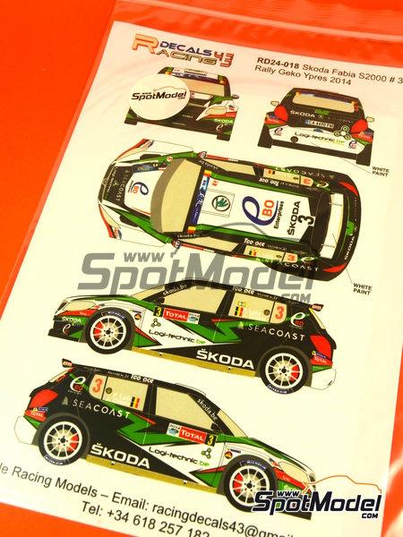 Skoda Fabia S2000 Ebo Enterprises - Rally de Ypres de Belgica 2014 | Calcas de agua en escala1/24 fabricado por Racing Decals 43 (ref.RD24-018) image
