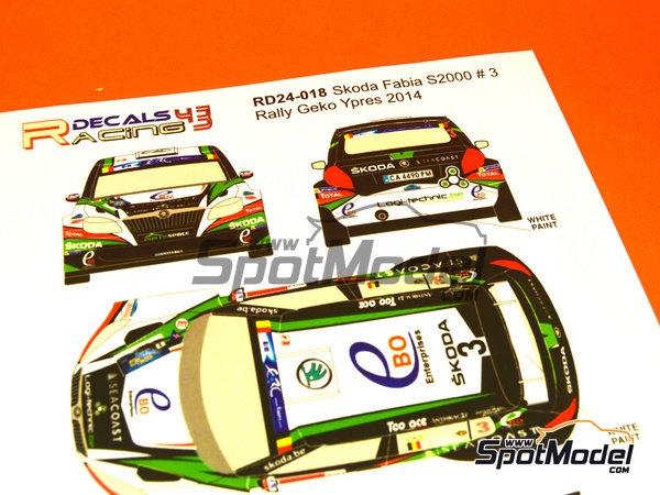 Image 4: Skoda Fabia S2000 Ebo Enterprises - Rally de Ypres de Belgica 2014 | Calcas de agua en escala1/24 fabricado por Racing Decals 43 (ref.RD24-018)