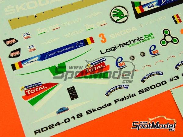 Image 11: Skoda Fabia S2000 Ebo Enterprises - Rally de Ypres de Belgica 2014 | Calcas de agua en escala1/24 fabricado por Racing Decals 43 (ref.RD24-018)