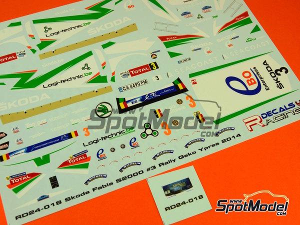 Image 13: Skoda Fabia S2000 Ebo Enterprises - Rally de Ypres de Belgica 2014 | Calcas de agua en escala1/24 fabricado por Racing Decals 43 (ref.RD24-018)