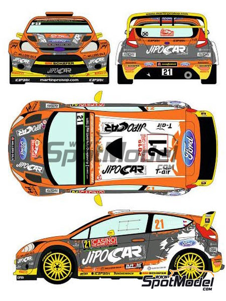 Ford Fiesta RS WRC Jipocar Czech National Team - Montecarlo Rally - Rallye Automobile de Monte-Carlo 2015 | Marking / livery in 1/24 scale manufactured by Racing Decals 43 (ref.RD24-020) image