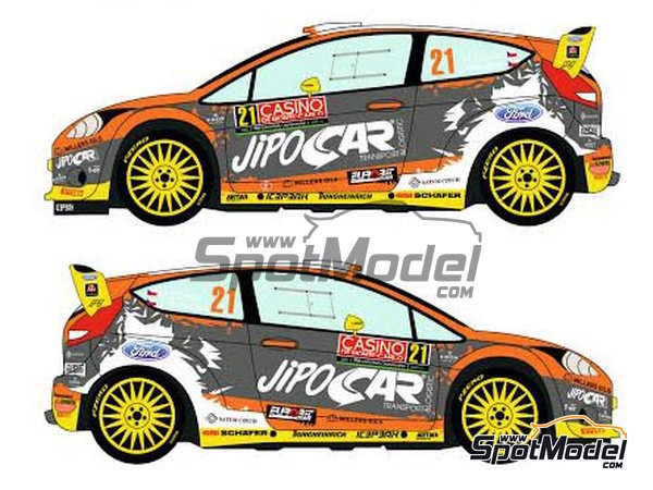 Image 3: Ford Fiesta RS WRC Jipocar Czech National Team - Montecarlo Rally - Rallye Automobile de Monte-Carlo 2015 | Marking / livery in 1/24 scale manufactured by Racing Decals 43 (ref.RD24-020)