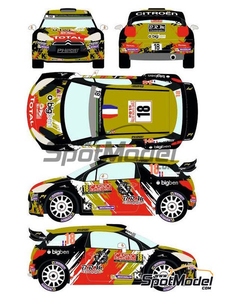 Citroen DS3 WRC BRM - Montecarlo Rally - Rallye Automobile de Monte-Carlo 2015 | Decals in 1/24 scale manufactured by Racing Decals 43 (ref.RD24-021) image