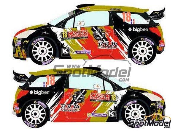 Image 3: Citroen DS3 WRC BRM - Montecarlo Rally - Rallye Automobile de Monte-Carlo 2015 | Decals in 1/24 scale manufactured by Racing Decals 43 (ref.RD24-021)