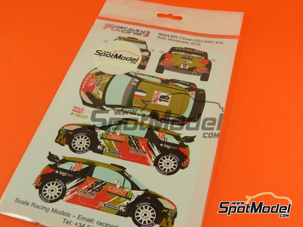 Image 10: Citroen DS3 WRC BRM - Montecarlo Rally - Rallye Automobile de Monte-Carlo 2015 | Decals in 1/24 scale manufactured by Racing Decals 43 (ref.RD24-021)