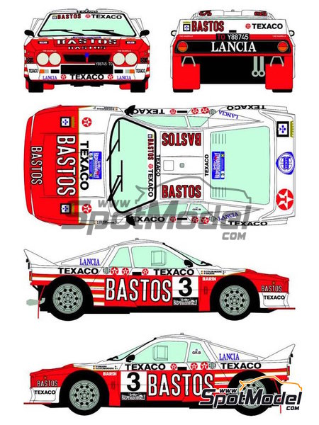 Lancia 037 Rally Bastos Texaco Rally Team - Haspengow Rally 1985 | Marking / livery in 1/24 scale manufactured by Racing Decals 43 (ref.RD24-022) image