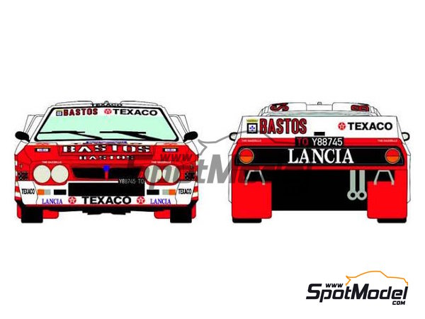Image 1: Lancia 037 Rally Bastos Texaco Rally Team - Haspengow Rally 1985 | Marking / livery in 1/24 scale manufactured by Racing Decals 43 (ref.RD24-022)