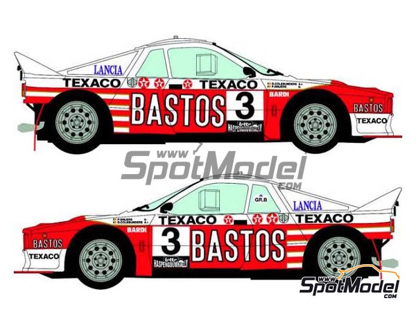 Image 3: Lancia 037 Rally Bastos Texaco Rally Team - Haspengow Rally 1985 | Marking / livery in 1/24 scale manufactured by Racing Decals 43 (ref.RD24-022)