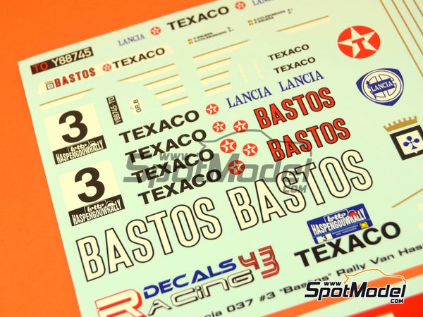Image 5: Lancia 037 Rally Bastos Texaco Rally Team - Haspengow Rally 1985 | Marking / livery in 1/24 scale manufactured by Racing Decals 43 (ref.RD24-022)
