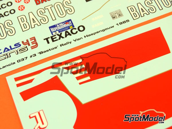 Image 7: Lancia 037 Rally Bastos Texaco Rally Team - Haspengow Rally 1985 | Marking / livery in 1/24 scale manufactured by Racing Decals 43 (ref.RD24-022)