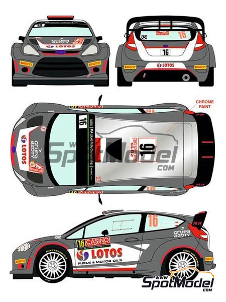 Ford Fiesta RS WRC Lotos - Montecarlo Rally - Rallye Automobile de Monte-Carlo 2015 | Decals in 1/24 scale manufactured by Racing Decals 43 (ref. RD24-023) image
