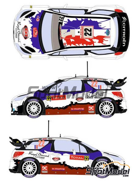 Citroen DS3 WRC Royal Bernard - Montecarlo Rally 2013 | Marking / livery in 1/24 scale manufactured by Racing Decals 43 (ref.RD24-024) image