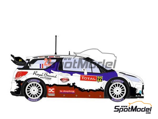 Image 4: Citroen DS3 WRC Royal Bernard - Montecarlo Rally 2013 | Marking / livery in 1/24 scale manufactured by Racing Decals 43 (ref.RD24-024)