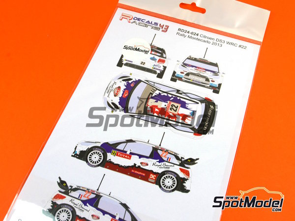 Image 5: Citroen DS3 WRC Royal Bernard - Montecarlo Rally 2013 | Marking / livery in 1/24 scale manufactured by Racing Decals 43 (ref.RD24-024)