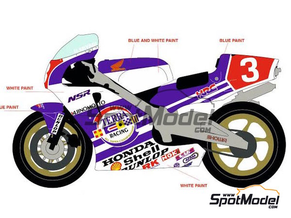 Image 1: Honda NSR500 Terra Racing -  1989 | Marking / livery in 1/12 scale manufactured by Racing Decals 43 (ref.RDB12-002)