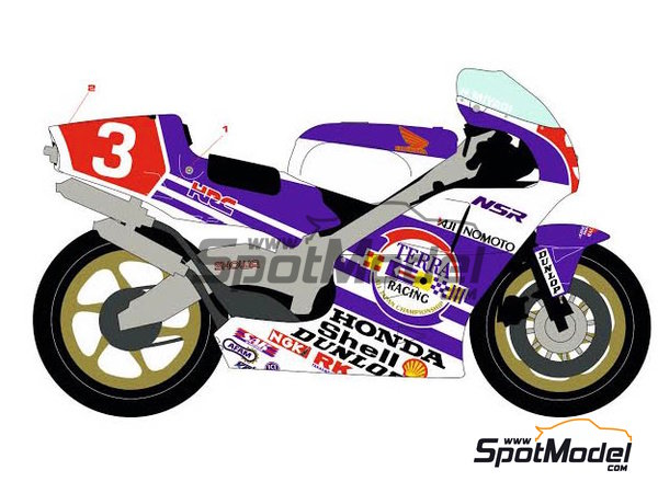 Image 2: Honda NSR500 Terra Racing -  1989 | Marking / livery in 1/12 scale manufactured by Racing Decals 43 (ref.RDB12-002)