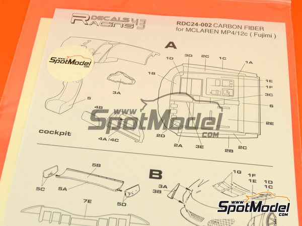 Image 6: McLaren MP4-12C GT3 | Carbon fibre pattern decal in 1/24 scale manufactured by Racing Decals 43 (ref.RDC24-002)