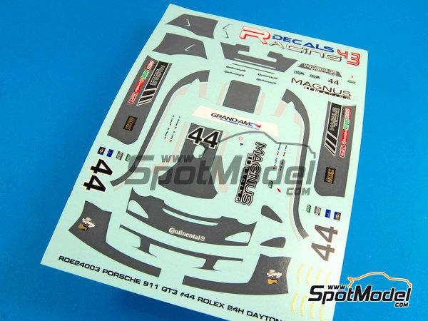 Image 5: Porsche 911 GT3 Magnus Racing - 24 Horas de Daytona 2012 | Calcas de agua en escala1/24 fabricado por Racing Decals 43 (ref.RDE24-003)