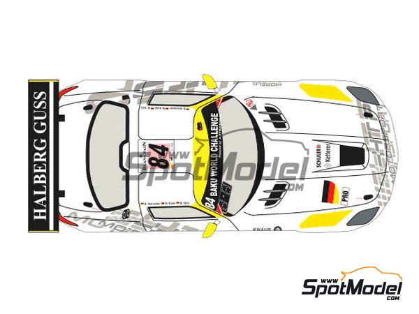 Image 2: Mercedes Benz SLS AMG GT3 HTP Motorsport - 24 Hours SPA Francorchamps 2013 | Marking / livery in 1/24 scale manufactured by Racing Decals 43 (ref.RDE24-004)