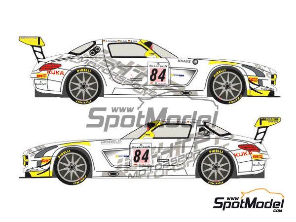Image 3: Mercedes Benz SLS AMG GT3 HTP Motorsport - 24 Horas de SPA Francorchamps 2013 | Decoración en escala1/24 fabricado por Racing Decals 43 (ref.RDE24-004)