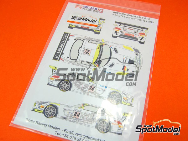 Image 5: Mercedes Benz SLS AMG GT3 HTP Motorsport - 24 Hours SPA Francorchamps 2013 | Marking / livery in 1/24 scale manufactured by Racing Decals 43 (ref.RDE24-004)