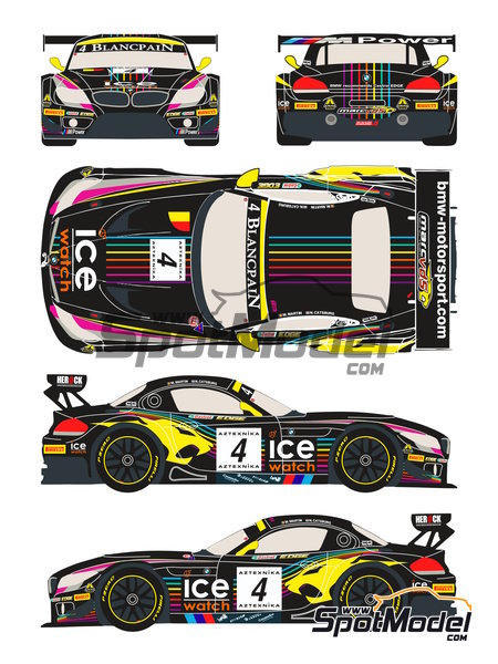 BMW Z4 GT3 Ice Watch - Baku World Challenge 2013 | Marking / livery in 1/24 scale manufactured by Racing Decals 43 (ref. RDE24-005) image
