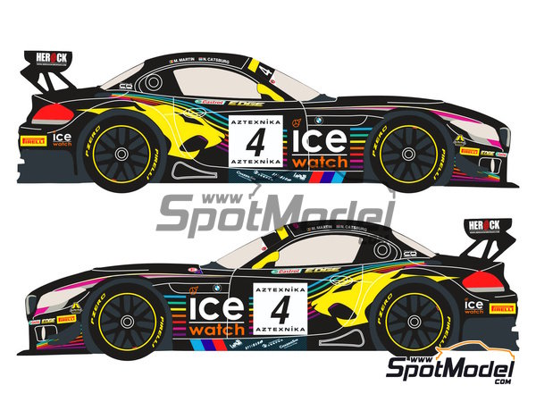 Image 3: BMW Z4 GT3 Ice Watch - Baku World Challenge 2013 | Marking / livery in 1/24 scale manufactured by Racing Decals 43 (ref. RDE24-005)