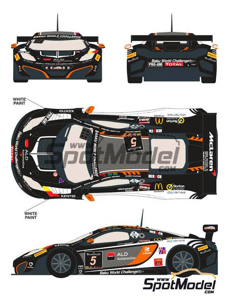 McLaren MP4-12C ALD Automotive - 24 Hours SPA Francorchamps 2013 | Marking / livery in 1/24 scale manufactured by Racing Decals 43 (ref.RDE24-007) image