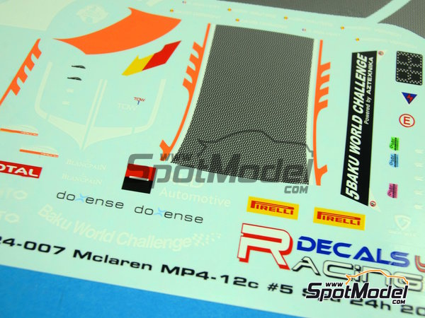 Image 7: McLaren MP4-12C ALD Automotive - 24 Hours SPA Francorchamps 2013 | Marking / livery in 1/24 scale manufactured by Racing Decals 43 (ref.RDE24-007)