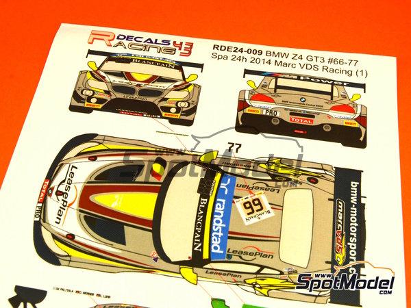 Image 4: BMW Z4 GT3 Randstad - 24 Horas de SPA Francorchamps 2014   Decoración en escala1/24 fabricado por Racing Decals 43 (ref.RDE24-009)