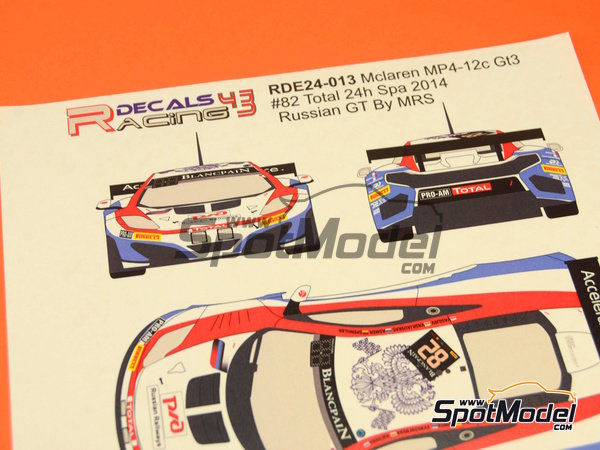 Image 8: McLaren MP4-12C GT3 MRS Accelerate experience - 24 Hours SPA Francorchamps 2014 | Marking / livery in 1/24 scale manufactured by Racing Decals 43 (ref. RDE24-013)