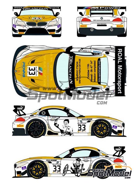 BMW Z4 GT3 Roal Motorsport - Zolder DRM 2014 | Marking / livery in 1/24 scale manufactured by Racing Decals 43 (ref. RDE24-016) image