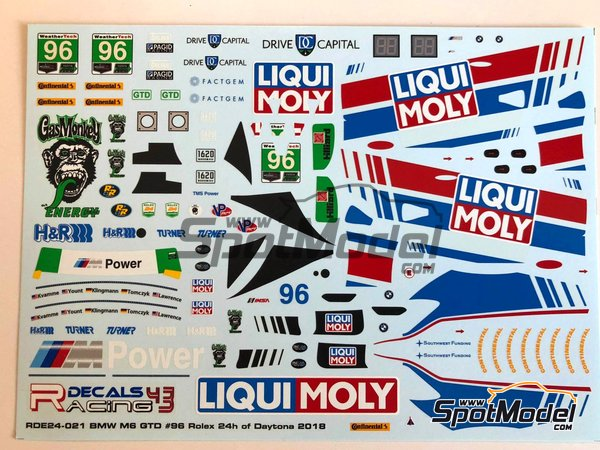 Image 4: BMW M6 GTD Turner Motorsport Liqui Moly - 24 Hours of Daytona 2018 | Marking / livery in 1/24 scale manufactured by Racing Decals 43 (ref.RDE24-021, also RDE24/021)