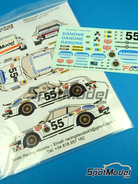 Porsche 934 Turbo RSR Group 4 Danone - 24 Horas de Le Mans 1977 | Decoración en escala1/24 fabricado por Racing Decals 43 (ref.RDEC24-001) image