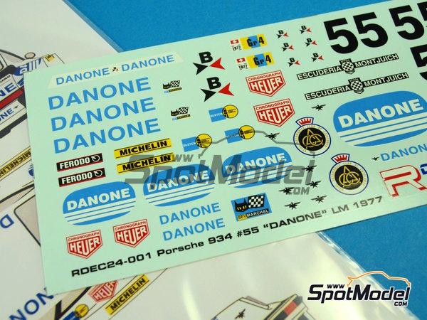 Image 5: Porsche 934 Turbo RSR Group 4 Danone - 24 Horas de Le Mans 1977 | Decoración en escala1/24 fabricado por Racing Decals 43 (ref.RDEC24-001)