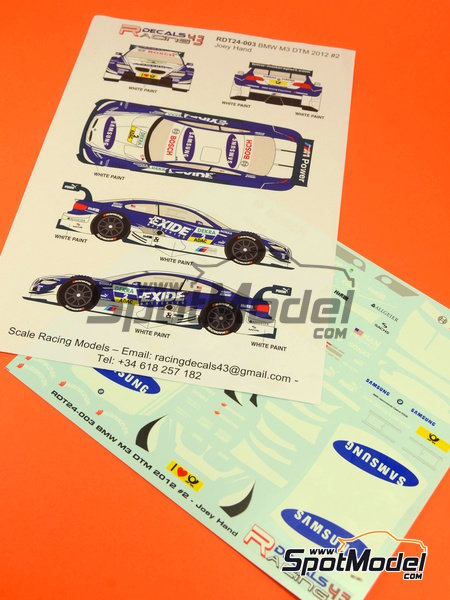 BMW M3 Samsung - DTM 2012 | Marking / livery in 1/24 scale manufactured by Racing Decals 43 (ref.RDT24-003) image