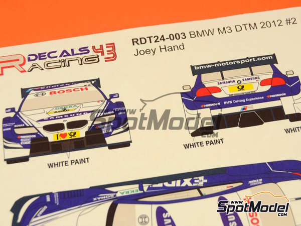 Image 12: BMW M3 Samsung - DTM 2012 | Marking / livery in 1/24 scale manufactured by Racing Decals 43 (ref.RDT24-003)