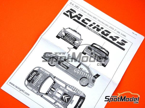 Image 1: Citroen Xsara WRC Total - Montecarlo Rally - Rallye Automobile de Monte-Carlo 2006 | Marking / livery in 1/43 scale manufactured by Racing43 (ref.R.K.382)