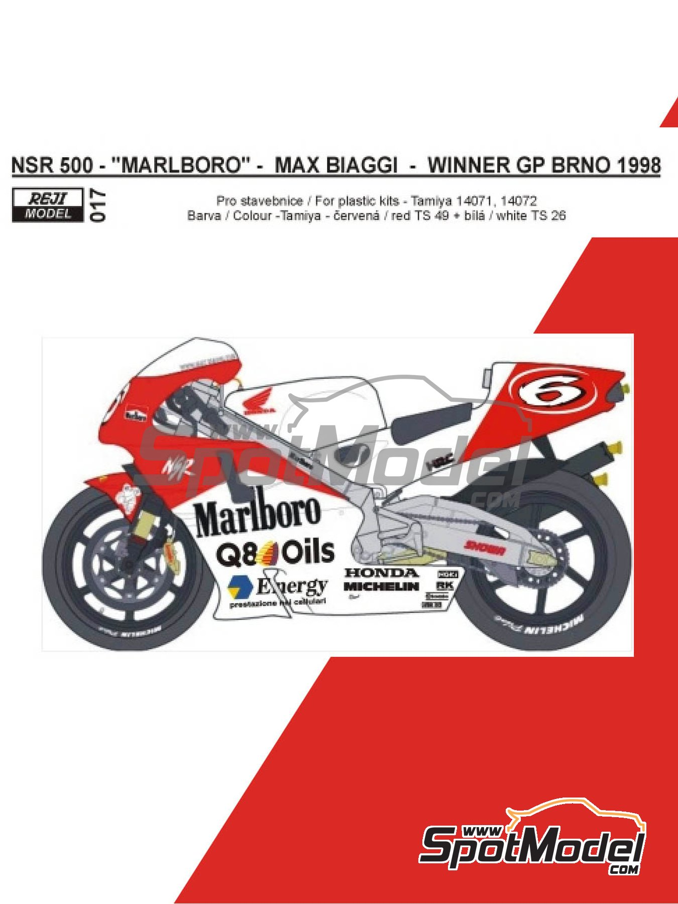 Honda NSR500 Marlboro - Brno Formula 1 Grand Prix, Brno Moto GP Grand Prix 1998 | Marking / livery in 1/12 scale manufactured by Reji Model (ref.REJI-017) image