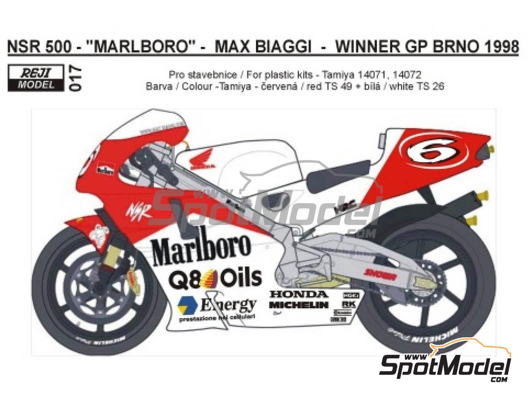Image 1: Honda NSR500 Marlboro - Brno Formula 1 Grand Prix, Brno Moto GP Grand Prix 1998 | Marking / livery in 1/12 scale manufactured by Reji Model (ref.REJI-017)