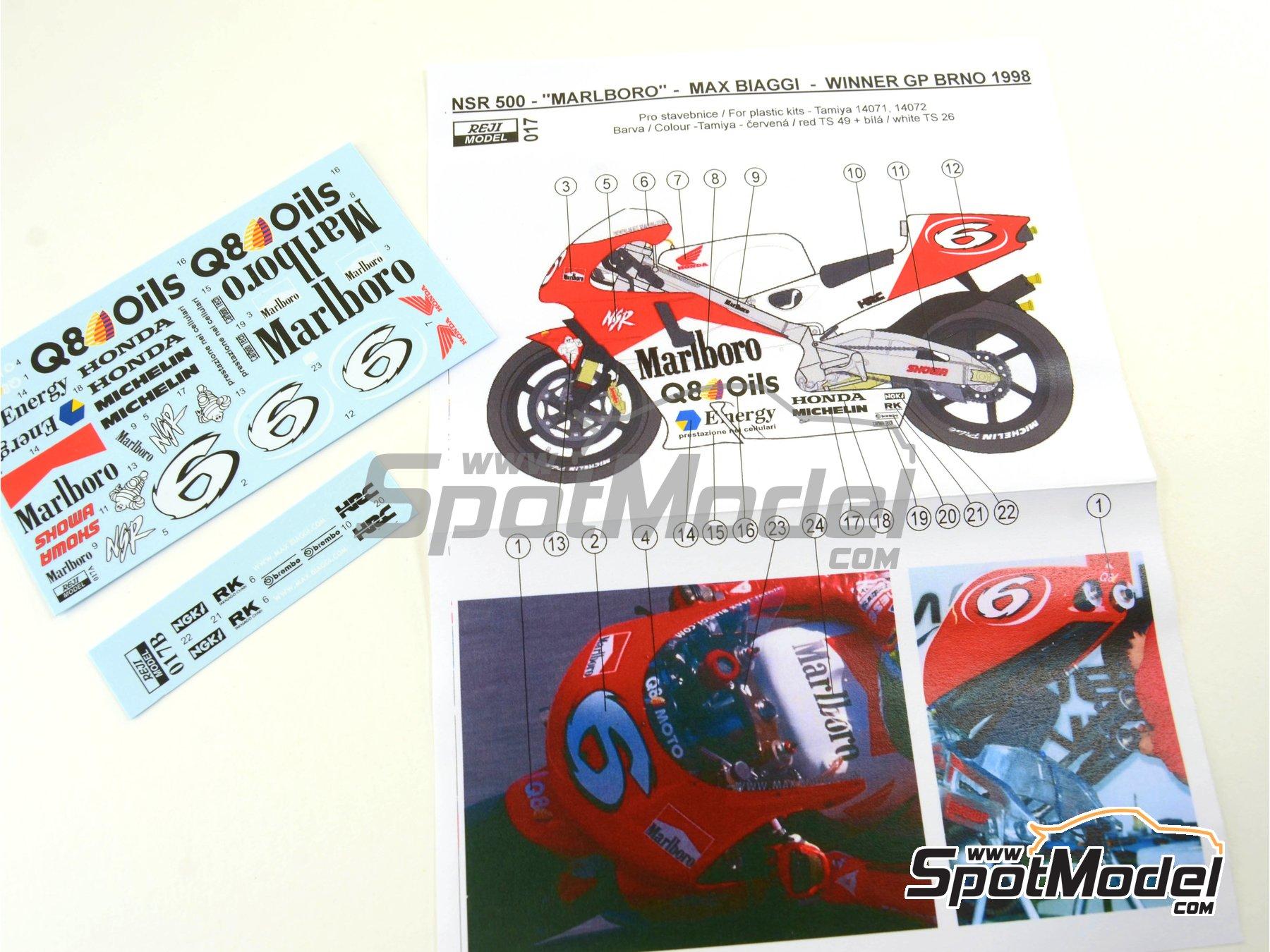 Image 2: Honda NSR500 Marlboro - Brno Formula 1 Grand Prix, Brno Moto GP Grand Prix 1998 | Marking / livery in 1/12 scale manufactured by Reji Model (ref.REJI-017)