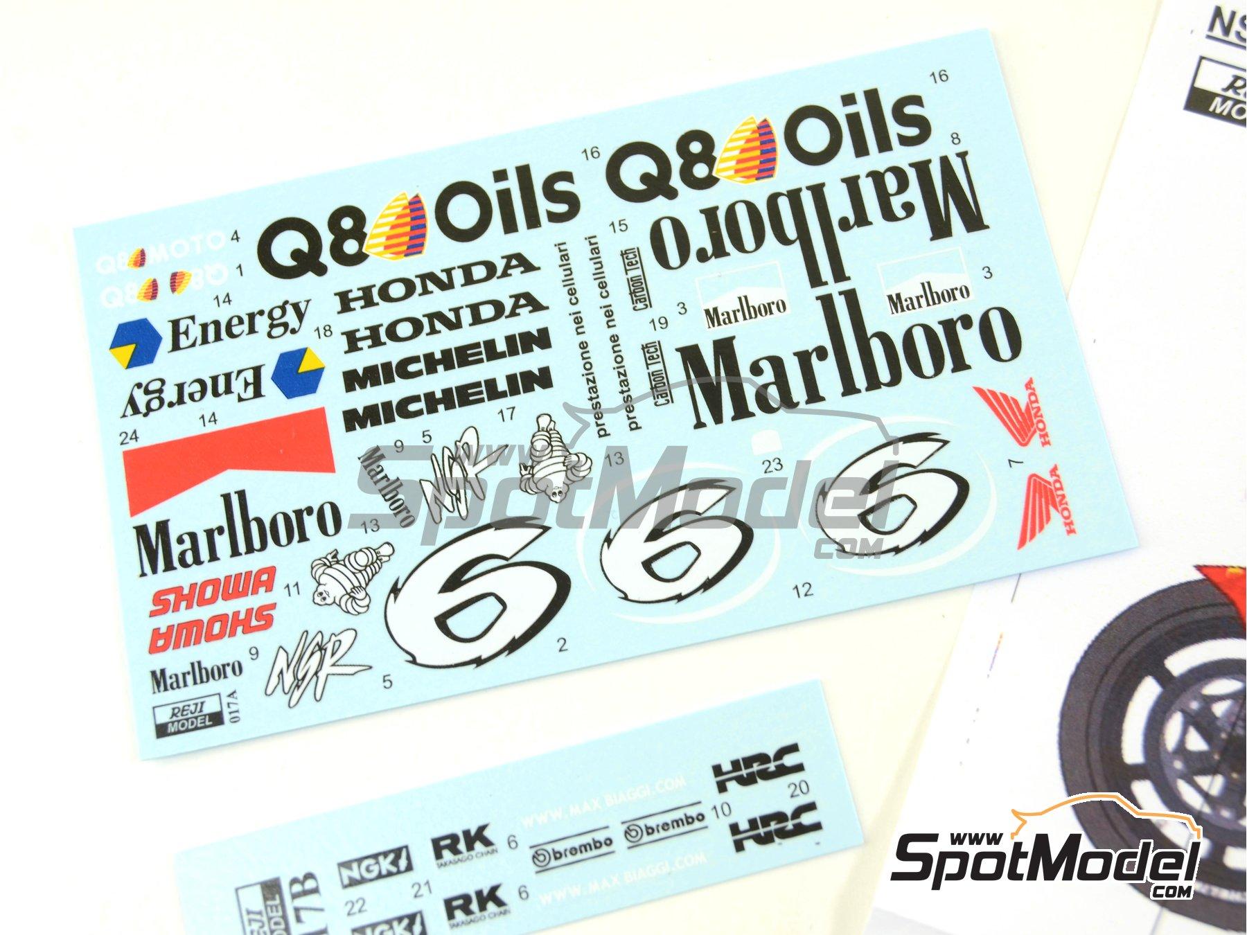 Image 4: Honda NSR500 Marlboro - Brno Formula 1 Grand Prix, Brno Moto GP Grand Prix 1998 | Marking / livery in 1/12 scale manufactured by Reji Model (ref.REJI-017)