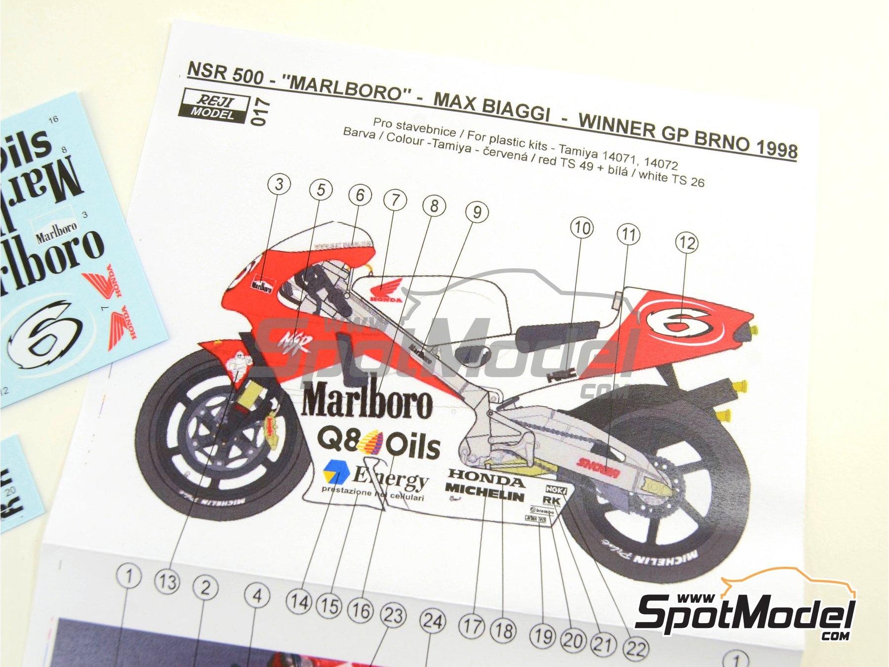 Image 5: Honda NSR500 Marlboro - Brno Formula 1 Grand Prix, Brno Moto GP Grand Prix 1998 | Marking / livery in 1/12 scale manufactured by Reji Model (ref.REJI-017)